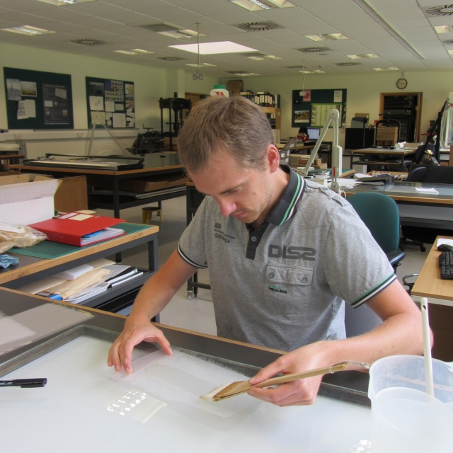 Edward working in the conservation studio