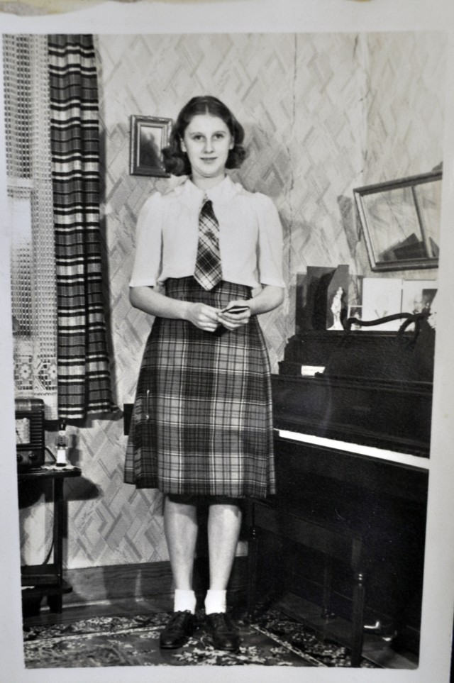 Marion wearing a kilt her mother sent for Christmas