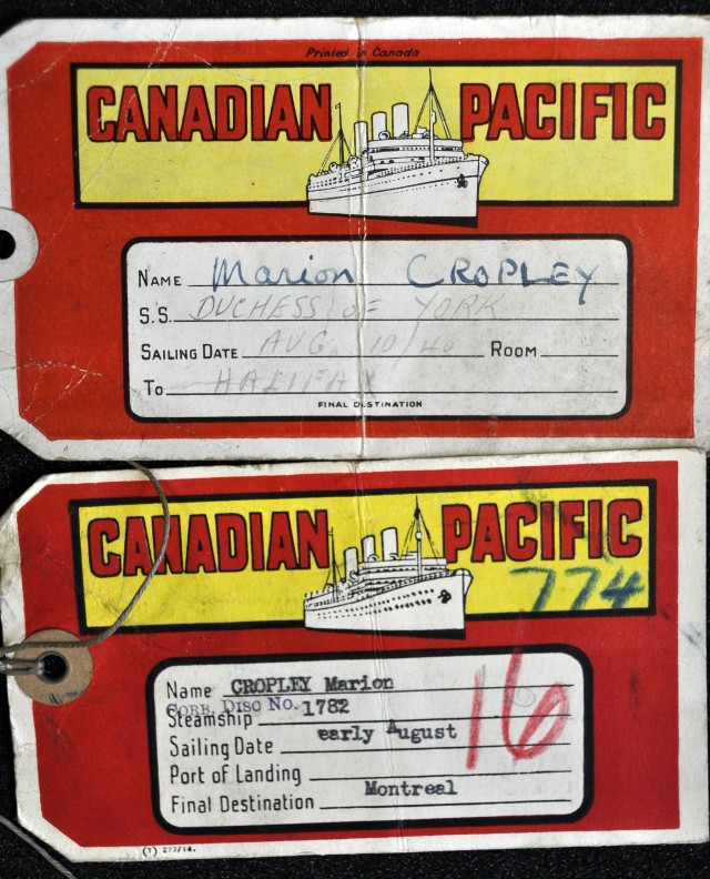 luggage labels from her journey to Canada