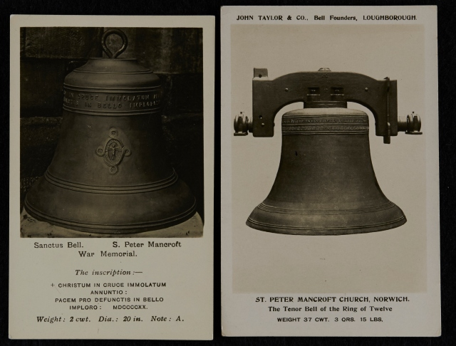 Postcards of St Peter Mancroft Sanctus Bell, c 1920, and Tenor Bell, c 1924