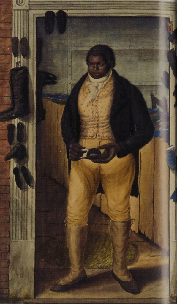Charley, a Norwich shoe salesman in the 1820s. Painted by John Dempsey in 1823. Copyright Collection: Tasmanian Museum and Art Gallery.