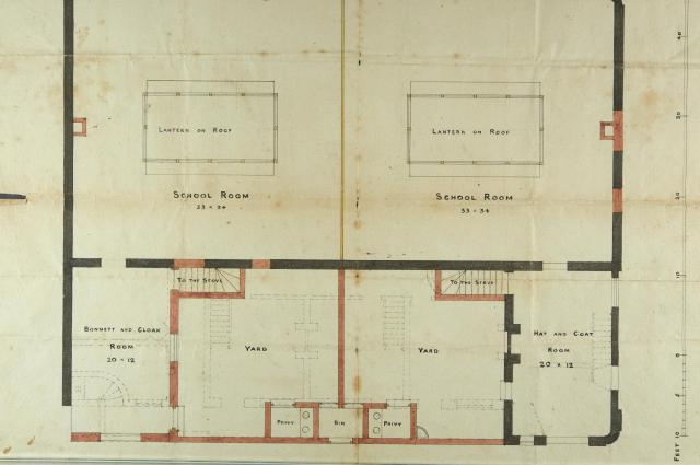 Plan showing location and use of rooms and facilities, including a 'bonnett and cloak room' and a 'hat and coat room.'
