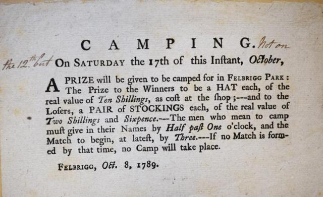advertisement for camping match in Felbrigg park, 1789. Catalogue reference: WKC 7/100/1-14, 404X5