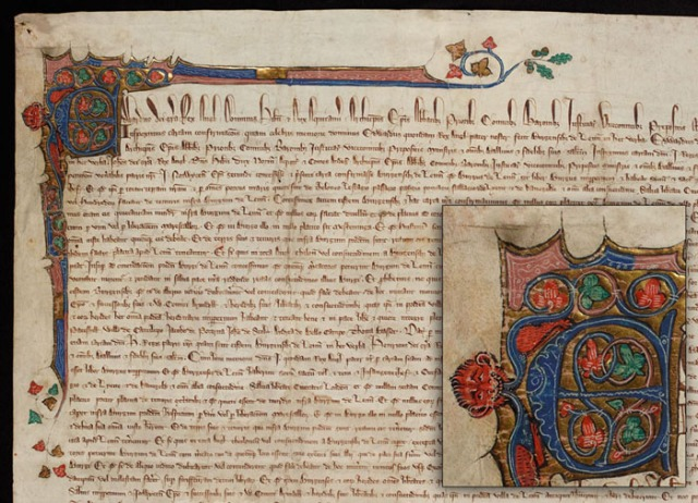 Image of King's Lynn Charter NRO KL/C 2/12, with detail of illumination inset