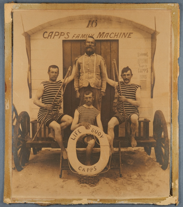 The Capps family on the steps of one of their bathing machines. Catalogue reference MC 2640/1, 990X9