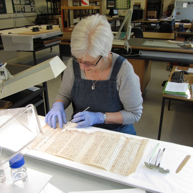 Aylsham Roll - Flattening parchment
