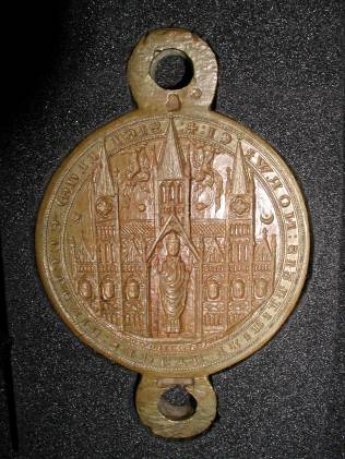 The obverse of the double matrix of the second conventual seal of Norwich Cathedral Priory, in use from 1258. NRO: DCN 129/1