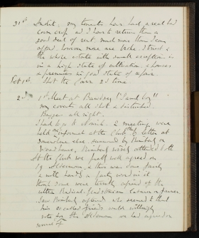 Extract, with transcript, from the diary of Anthony Hamond which covers the period 1888 to 1892. Norfolk Record Office, MC 3243/21 part.