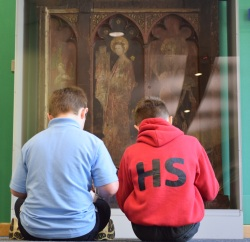 Pupils sketching the screen from St Gregory's Church, c.1425