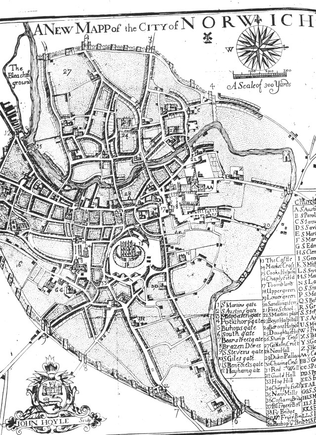 John Hoyle 1727 map of Norwich cropped