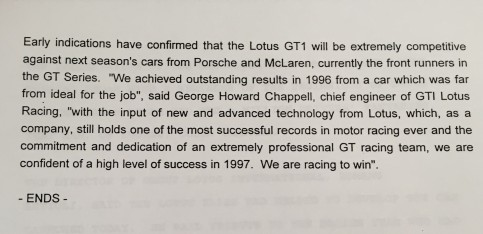 Lotus Press Release, 1997. NRO, AUD 1/1/490.