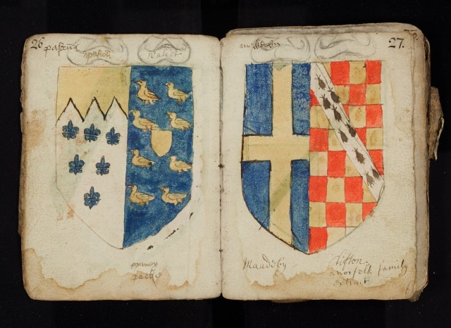 Paston book of arms NRO MS Rye 38