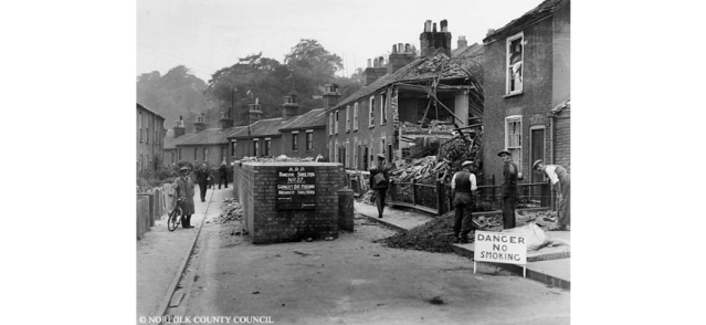 typical bomb damage in Norwich
