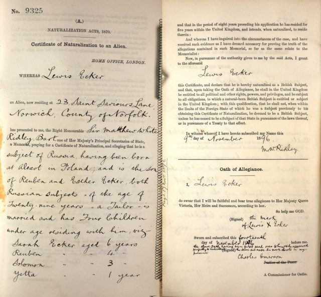 Naturalization papers for November 1896, The National Archives, HO 334/25